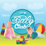 Vector Illustration Of Babies with Toys Outside On The Grass and baby Club Title Stock Photography