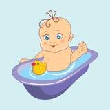 Vector illustration. baby bathing. Vector illustration. Toddler bathing in the tub Stock Photo