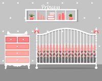 Vector illustration with baby bedroom Royalty Free Stock Photo