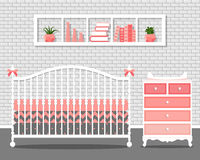 Vector illustration with baby bedroom Stock Photo