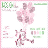 Vector illustration of  baby bicycle for girl Royalty Free Stock Image