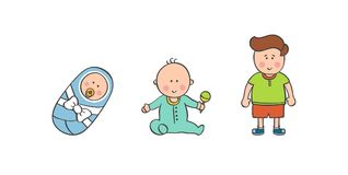Vector illustration baby boy ages Stock Photography