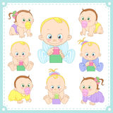Vector illustration of baby boys and baby girls Royalty Free Stock Photo