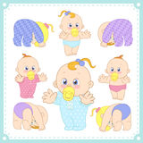 Vector illustration of baby boys and baby girls Royalty Free Stock Photos