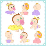 Vector illustration of baby boys and baby girls Royalty Free Stock Images