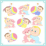 Vector illustration of baby boys and baby girls Stock Images