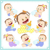 Vector illustration of baby boys and baby girls vector illustration