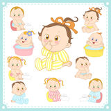 Vector illustration of baby boys and baby girls Stock Photos