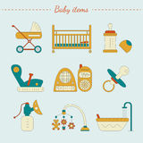 Vector illustration of baby care items Stock Photos