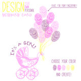 Vector illustration of  baby carriage for newborn Royalty Free Stock Image