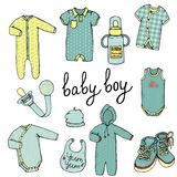 Baby clothes set. Vector illustration of baby clothes. Baby boy clothes set. Children fashion collection. Stylish clothes and accessories for kids isolated on stock illustration