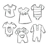 Vector illustration of baby clothes collection stock illustration