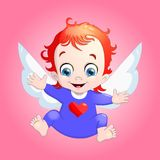 Vector illustration of a baby Cupid with a heart. Cartoon  Royalty Free Stock Photography