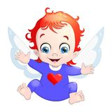 Vector illustration of a baby Cupid with a heart. Cartoon illustration of Cupid symbol on Valentine`s day Stock Photos