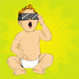 Vector illustration of baby in 3d anaglyph glasses, pop art Stock Image