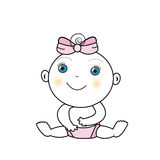 Vector illustration of a baby girl Stock Image