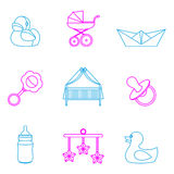 Vector illustration of baby and kids set icons Stock Photography