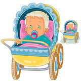 Vector illustration of a baby lies in a pram and sucks a pacifier. Stock Image