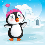 Vector Illustration Of Baby Penguin Standing Next To A Igloo Stock Images