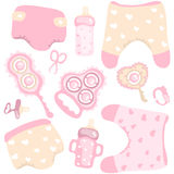 Vector illustration of baby product set for girl Royalty Free Stock Photos