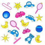 Vector illustration of baby and related items Royalty Free Stock Photo