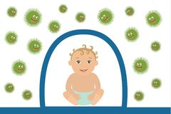 Vector Illustration of Baby Resisting Germs. The baby is protected from bacteria. Vector illustration isolated on white background in flat style Stock Image