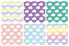 Set children seamless pattern with cute clouds, stars. vector illustration baby seamless pattern vector illustration