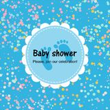 Baby shower card with confetti. Blue poster royalty free illustration