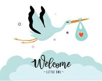 Vector illustration of a baby shower Invitation with stork. Stork carrying a cute baby in a bag. Can be used for cards, flyers, posters, t-shirts Stock Image
