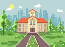 Vector illustration back to school architecture two-story building with porch, clock on tower, trees bushes exterior. Stock vector illustration back to school Stock Photo