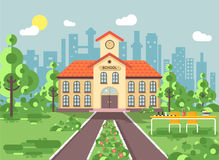 Vector illustration back to school architecture two-story building with porch, clock on tower, trees bushes exterior. Stock vector illustration back to school vector illustration