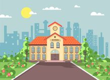Vector illustration back to school architecture two-story building with porch, clock on tower, trees bushes exterior. Stock vector illustration back to school Royalty Free Stock Photography