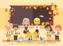 Vector illustration back to school cartoon characters schoolboy schoolgirl apprentices studying in classroom standing at. Stock vector illustration back to Royalty Free Stock Images
