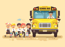 Vector illustration back to school cartoon characters schoolboy schoolgirls pupils apprentices cute cheerful children at Royalty Free Stock Images
