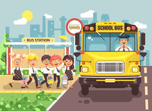 Vector illustration back to school cartoon characters schoolboy schoolgirls pupils apprentices cute cheerful children at Stock Photography