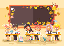 Vector illustration back to school cartoon characters schoolboy schoolgirls pupils apprentices studying in classroom Royalty Free Stock Photos