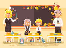 Vector illustration back to school cartoon characters schoolboy schoolgirls pupils apprentices teachers studying in Royalty Free Stock Photography