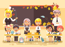 Vector illustration back to school cartoon characters schoolboy schoolgirls pupils apprentices teachers studying in Royalty Free Stock Photo