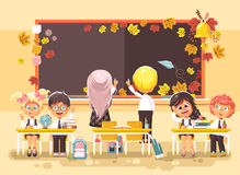 Vector illustration back to school cartoon characters schoolboy schoolgirls write on blackboard pupils apprentices Royalty Free Stock Photos