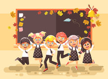 Vector illustration back to school cartoon characters schoolboys schoolgirls pupils apprentices happy classmates jumping Royalty Free Stock Images
