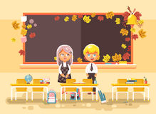 Vector illustration back to school cartoon two characters schoolboy and schoolgirl standing alone in empty classroom at. Stock vector illustration back to school Stock Photo