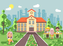 Vector illustration back to school character schoolgirl schoolboy pupil sitting on grass, exterior schoolyard, girl. Stock vector illustration back to school Royalty Free Stock Image