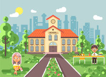 Vector illustration back to school character schoolgirl schoolboy pupil sitting on grass, exterior schoolyard, girl. Stock vector illustration back to school Royalty Free Stock Photos