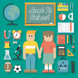 Vector illustration: Back to School Flat Icons Set Royalty Free Stock Image