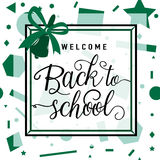 Vector illustration of back to school greeting card with lettering element on seamless geometric background Royalty Free Stock Image