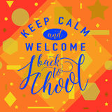 Vector illustration of back to school greeting card with lettering element on seamless geometric background Stock Image