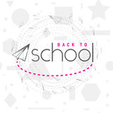 Vector illustration of back to school greeting card with typography element and flying airplane on seamless geometric Royalty Free Stock Photo