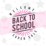 Vector illustration of back to school greeting card with typography element on seamless geometric background Stock Photos