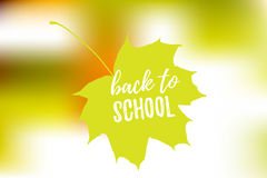 Vector Illustration of back to school lettering typography, autumn blur bokeh background with brigth maple leaf. Banner Stock Images