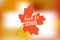 Vector Illustration of back to school lettering typography, autumn blur bokeh background with brigth maple leaf. Banner Royalty Free Stock Photo